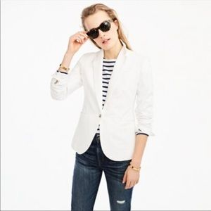Jcrew white unstructured blazer in cotton linen